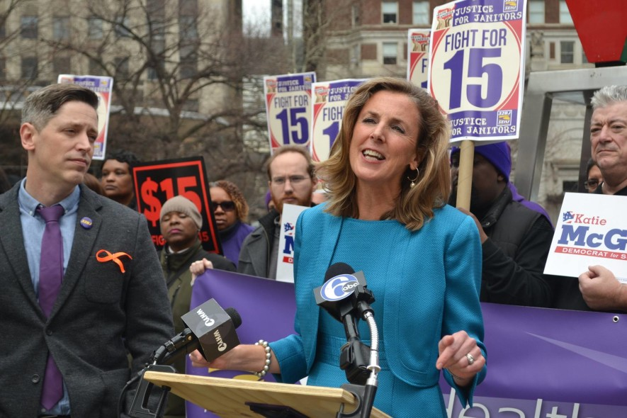 Katie McGinty speaks after winning SEIU endorsement.