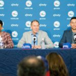 Sixers GM Bryan Colangelo with Ben Simmons (right) and Timothe Luwawu (left)