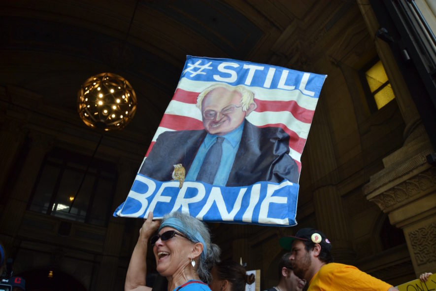 Bernie Sanders supporters were out in full force Monday ahead of his evening speech at the convention.