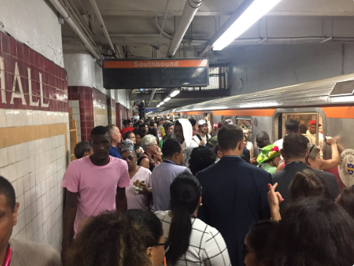 The Broad Street line was jam-packed with convention-goers on the way to the Wells Fargo Center from City Hall.