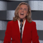 PA Senate candidate Katie McGinty speaks to the DNC crowd.