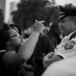 A woman clashes with a Philadelphia police officer during a protest on Wednesday, July 6. The demonstrators were protesting the death of Alton Sterling in Baton Rouge.