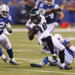 Philadelphia Eagles wide receiver Dorial Green-Beckham (18) runs with the ball after making a catch against Indianapolis Colts linebacker D'Qwell Jackson