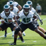 Philadelphia Eagles linebacker Myke Tavarres (45) runs drills during OTS's at the NovaCare Complex.