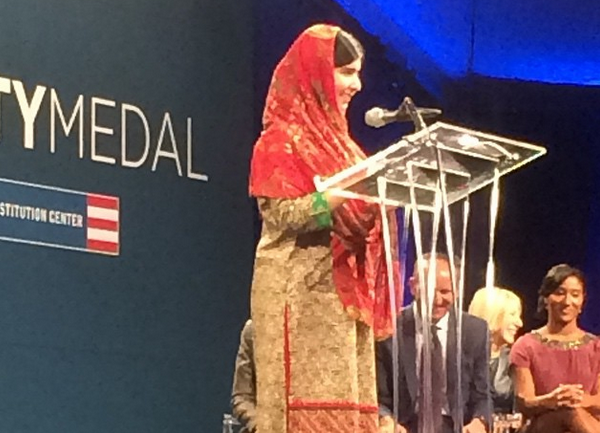 Malala Yousafzai receives the Liberty Medal in Philadelphia.