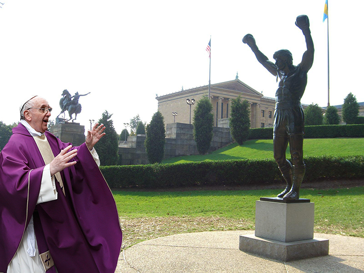 pope with rocky statue