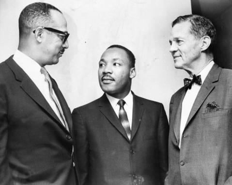 Dr. Martin Luther King is pictured with Judge William H. Hastle (left) and Senator Joseph S. Clark (right) at a visit to Fellowship House on Girard Avenue.