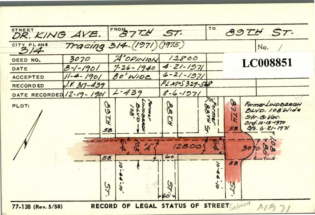 Record of legal status of street