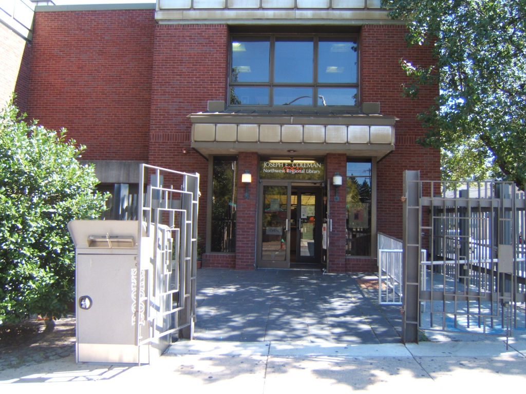 Entrance to the library, corner of Chelten Ave. and Greene St.