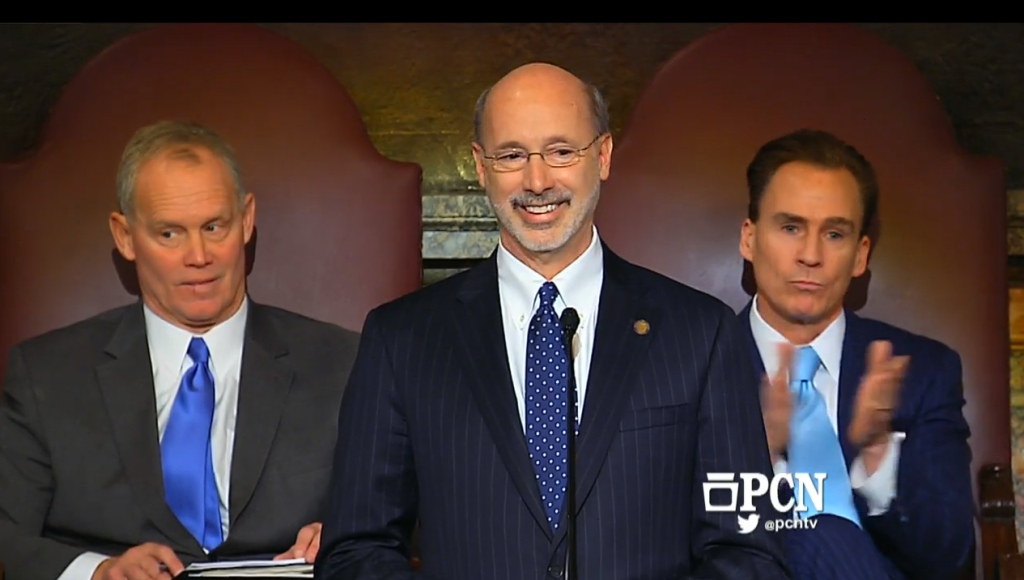 Tom Wolf delivering his first PA budget address in 2015.