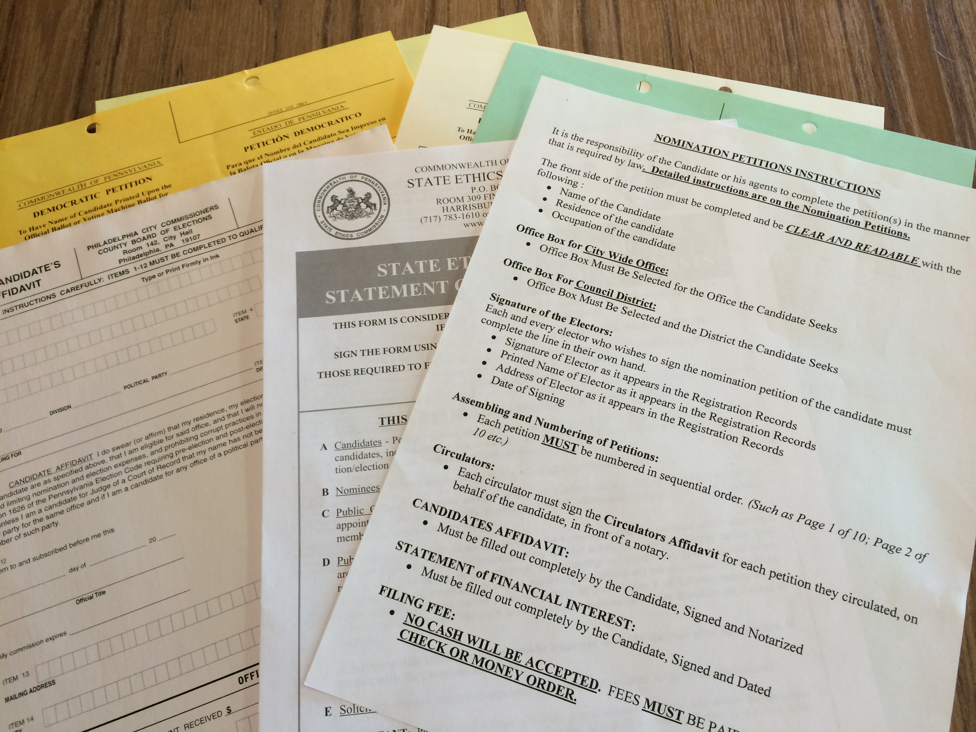 philadelphia candidacy forms