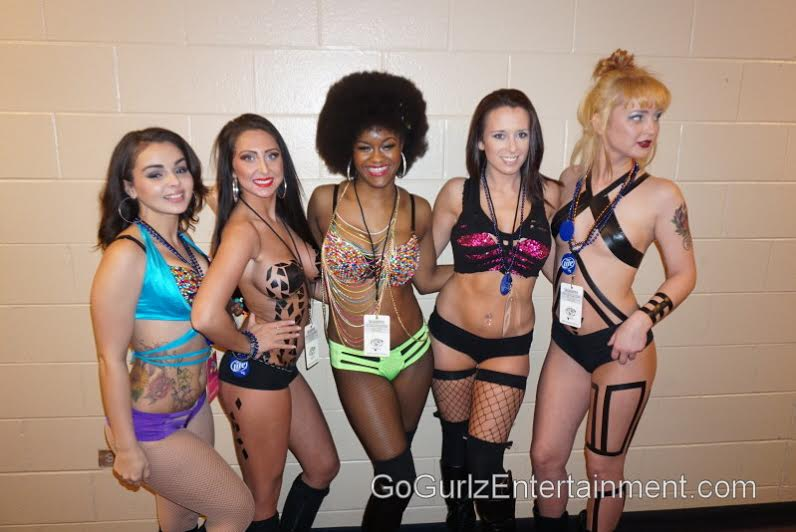 Go-go dangers from Go Gurlz Entertainment attending Wing Bowl 23.