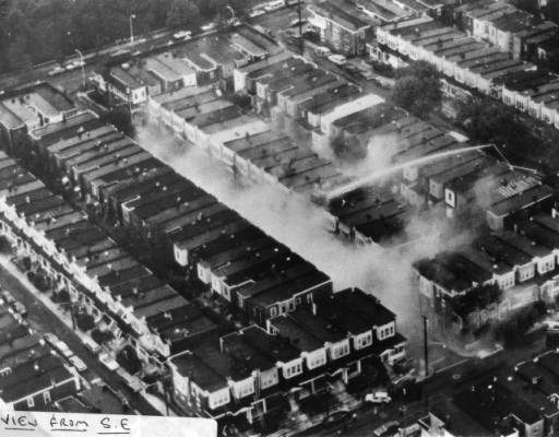 aerial view of MOVE HQ after bombing