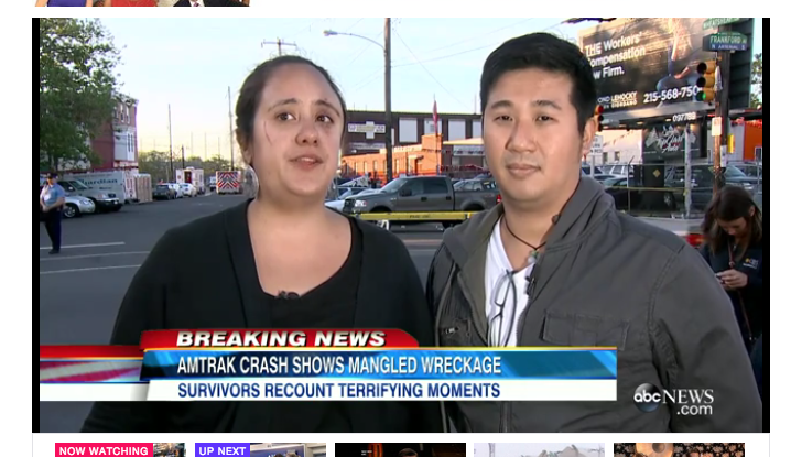 Being interviewed on camera with AP reporter Paul Cheung, who was also in the crash