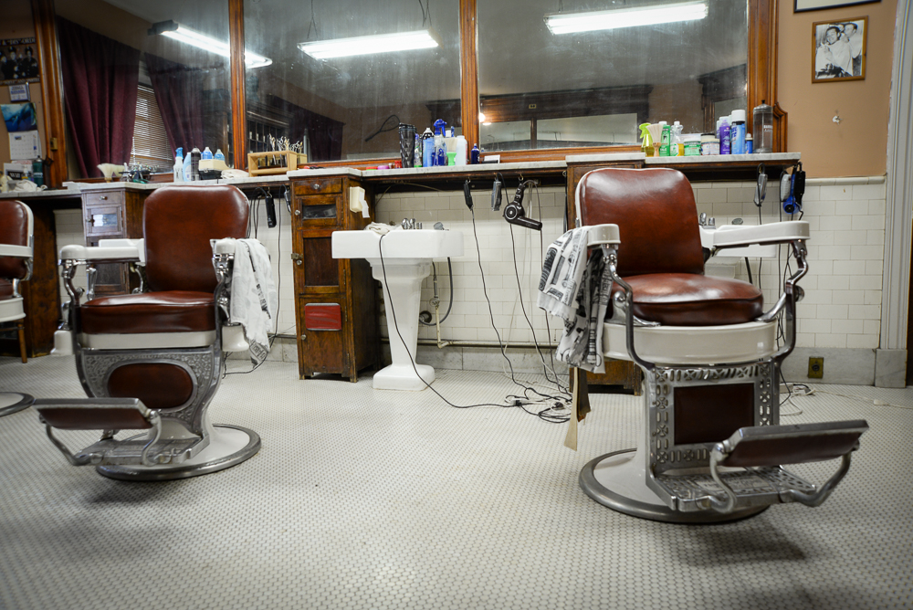In-house barber shop at the Racquet Club of Philadelphia.