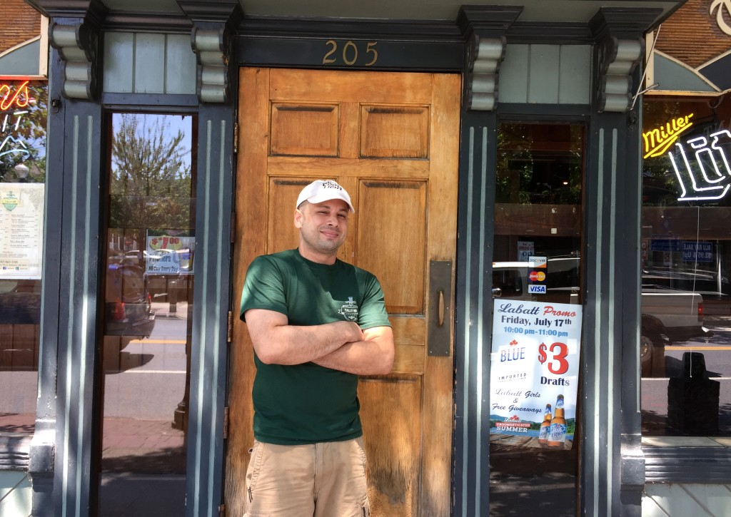 Jamey Hodgin, of Tally Ho Tavern, stands outside the bar in Bethlehem.