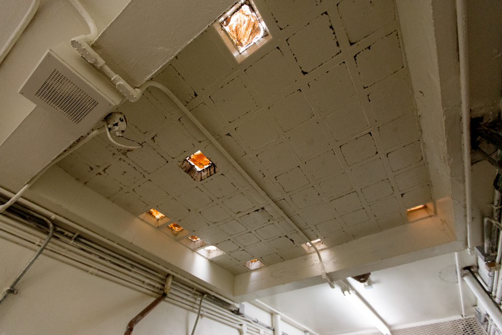 This ceiling was once glass and has had to be cemented in over the years due to age.