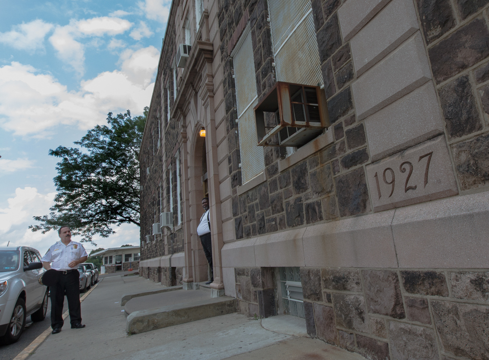 Philly Commissioner of Prisons Lou Giorla and Warden William Lawton in front of the House of Correction.