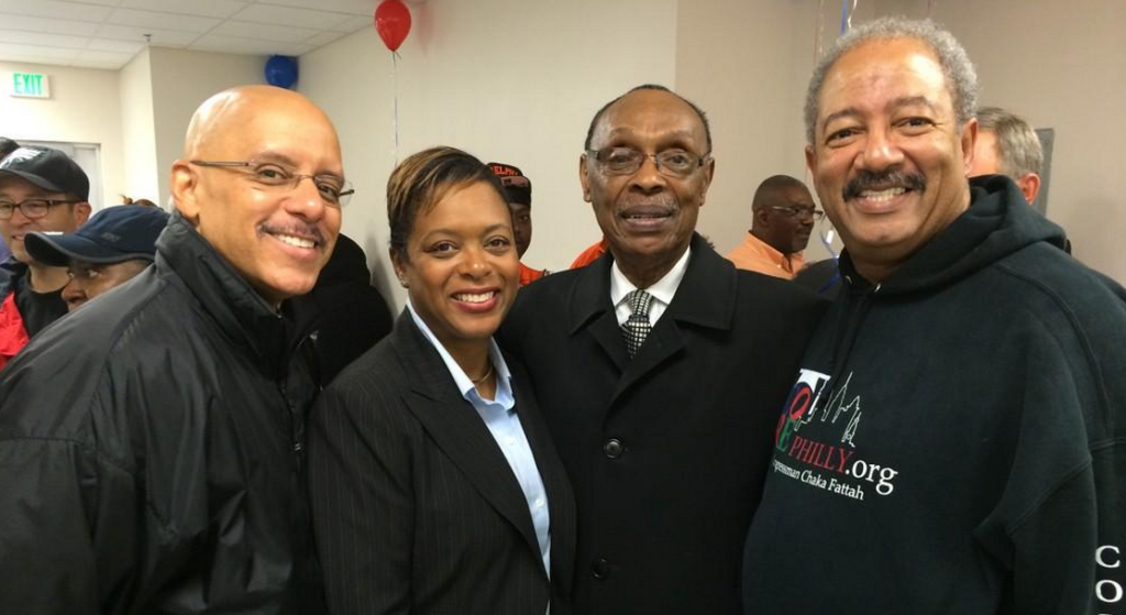 Chaka Fattah (right) stands with state Sen. Vincent Hughes (left) and city Councilwoman Cindy Bass (middle).