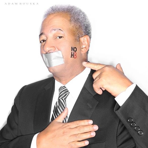 Fattah posed for the NOH8 campaign in 2012.