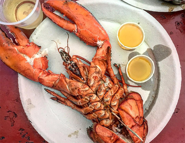 Lobster, butter and white wine at The Place in Guilford, CT
