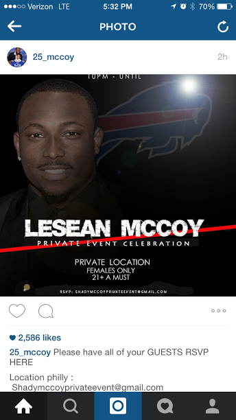 An ad for LeSean McCoy's very classy party.