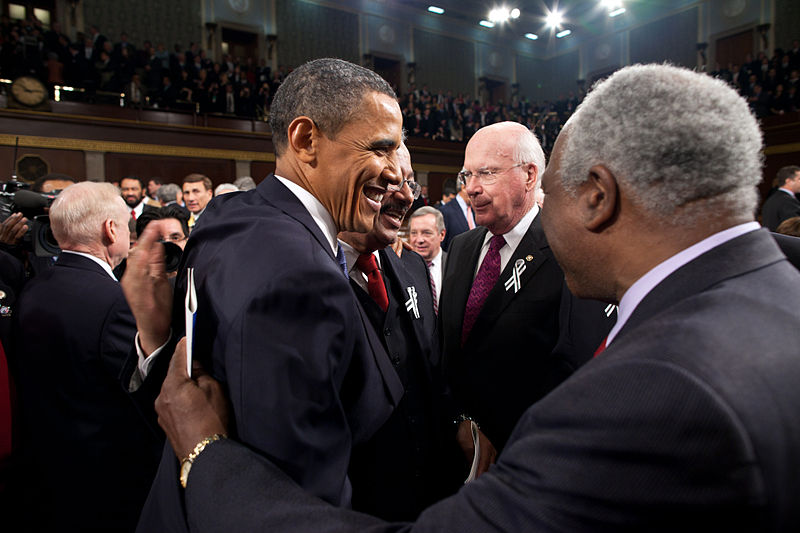 President Obama stands with Chaka Fattah at the State of the Union Address.