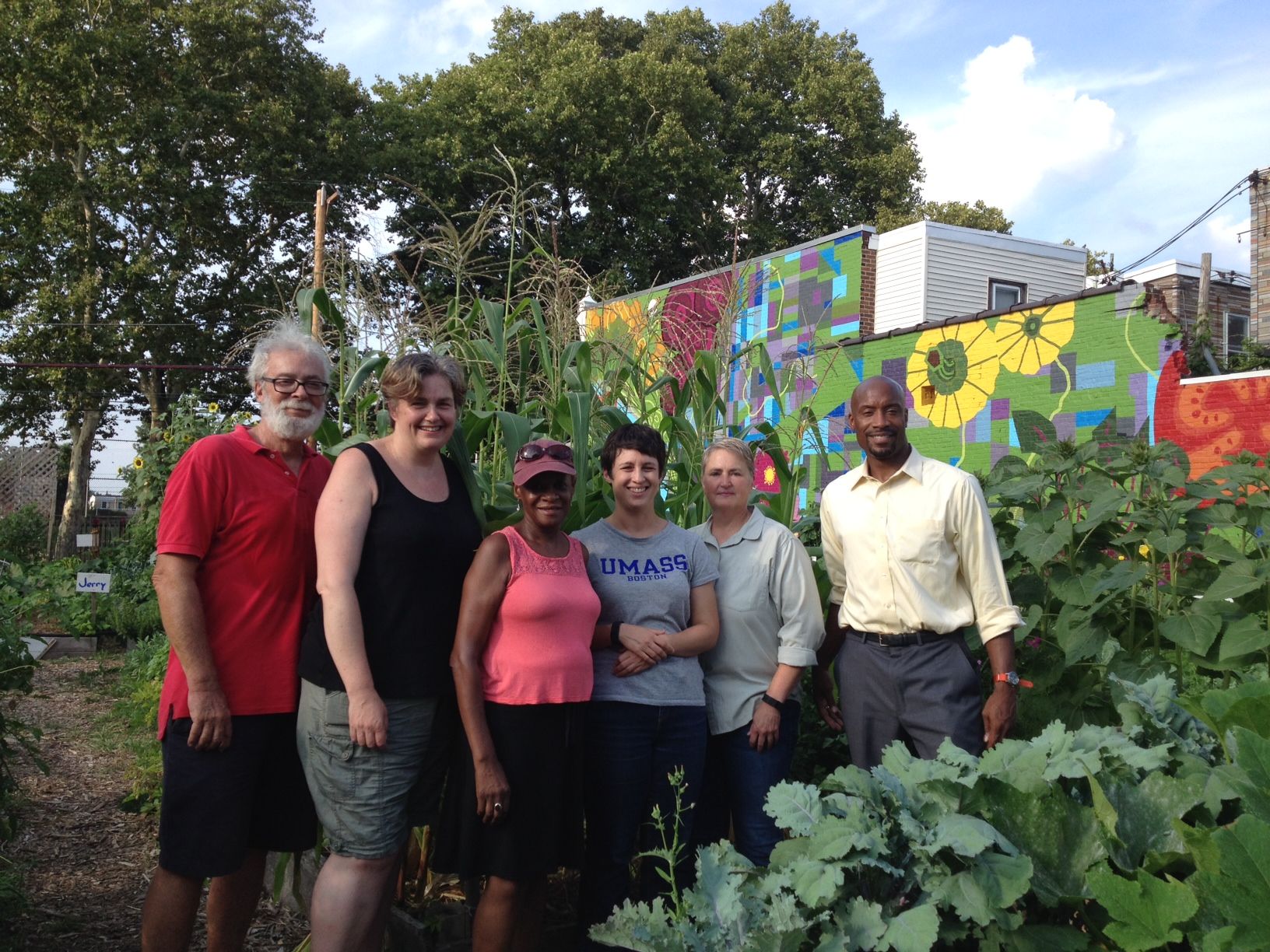 Board members (from left) Geoff Schulz, Suzanne Wilson, Jeannie Brooks, Amanda Bock, Sharon Hildebrand and Blair Shaw helped rebuild the farm Marathon Grill left behind into the nonprofit Brewerytown Garden.