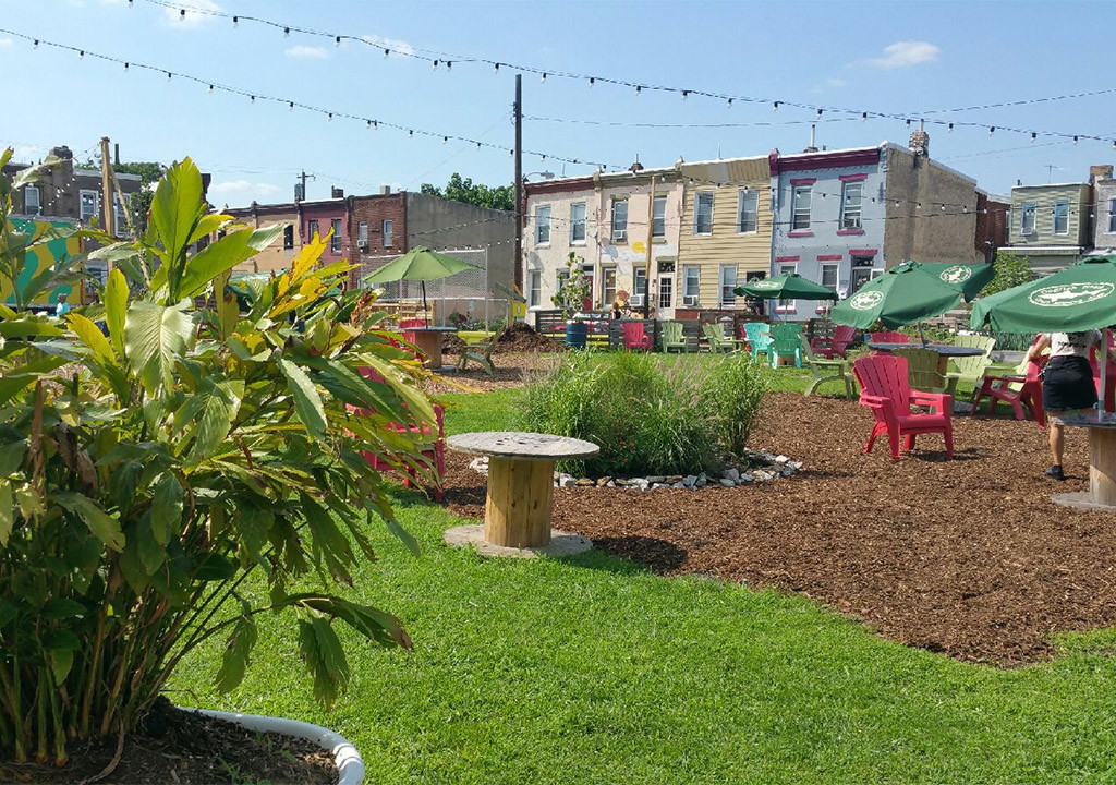 Formerly a dirty lot, this beer garden caused controversy