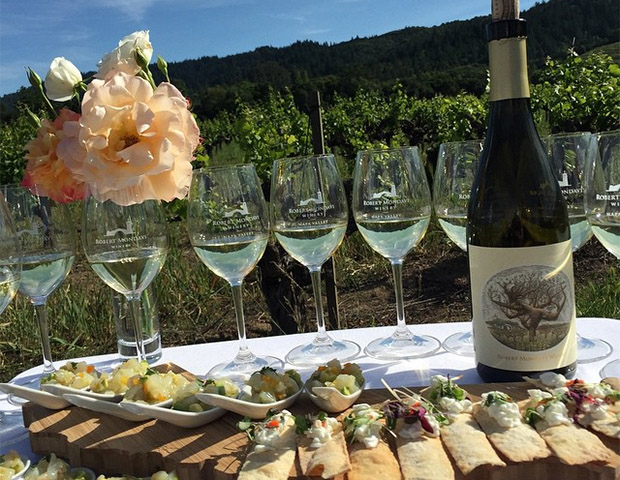 Wine and snacks at Robert Mondavi Winery in St. Helena, CA