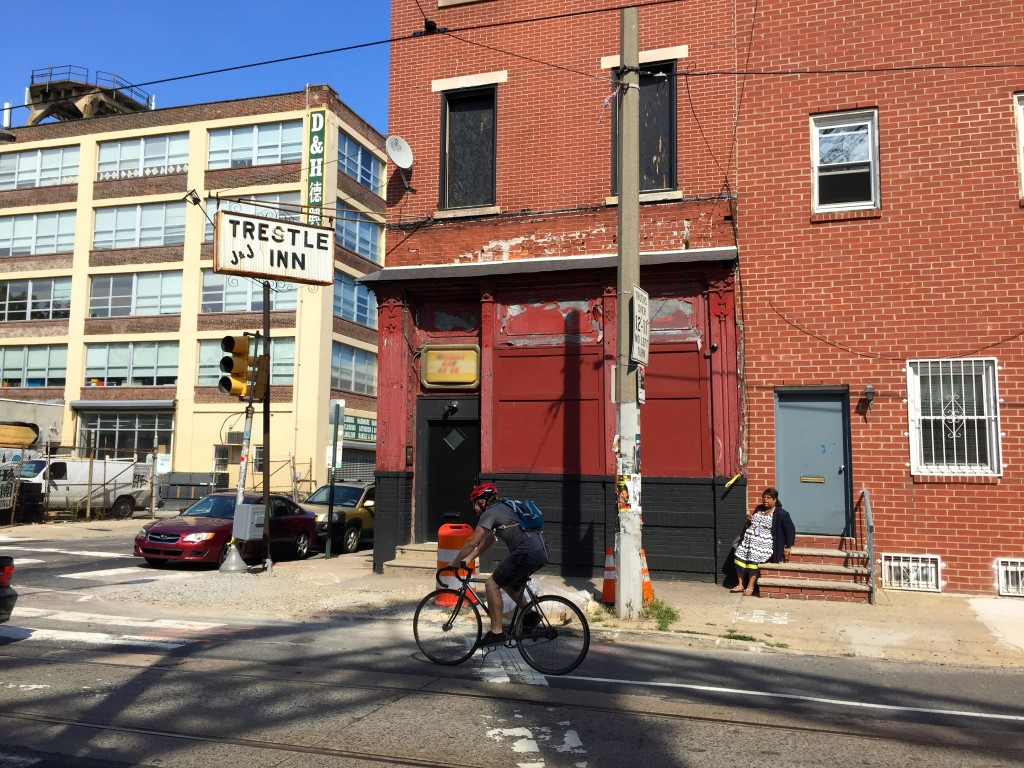 The Trestle Inn is a more than 100-year-old bar in the Callowhill neighborhood. It identifies as a whiskey and go-go bar.