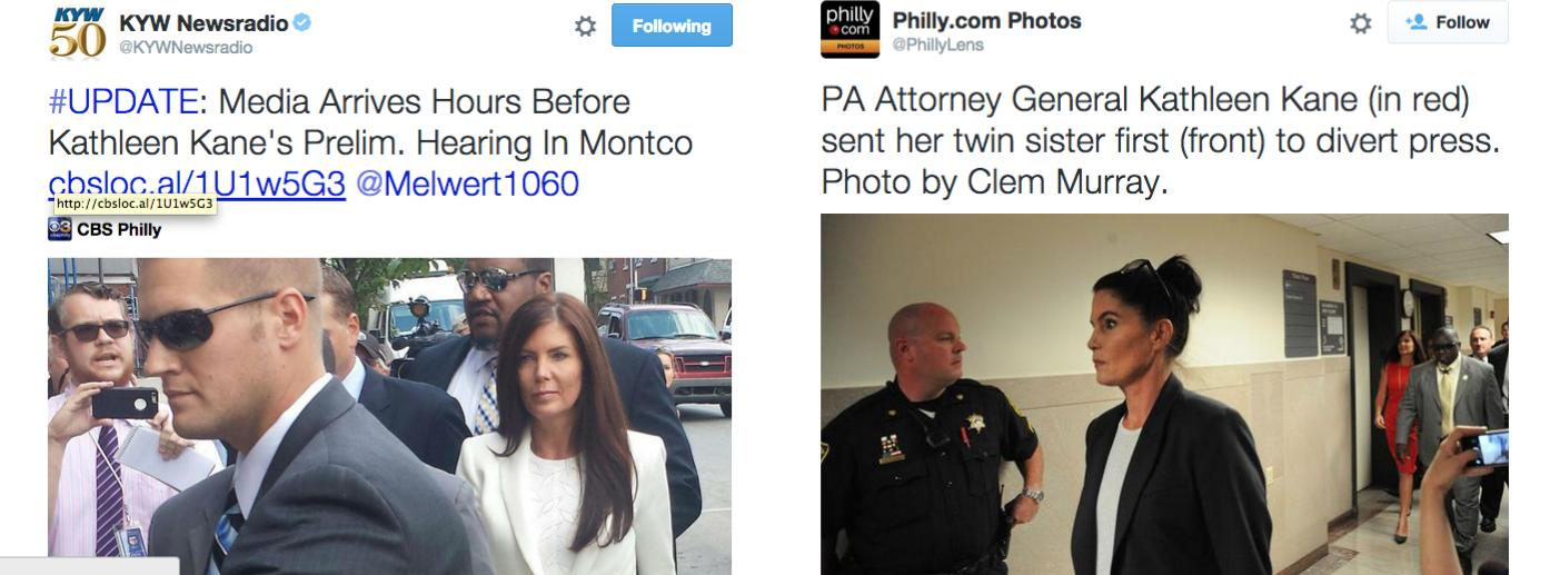 Kathleen Kane made sure media couldn't get pictures of her today as they have in the past.