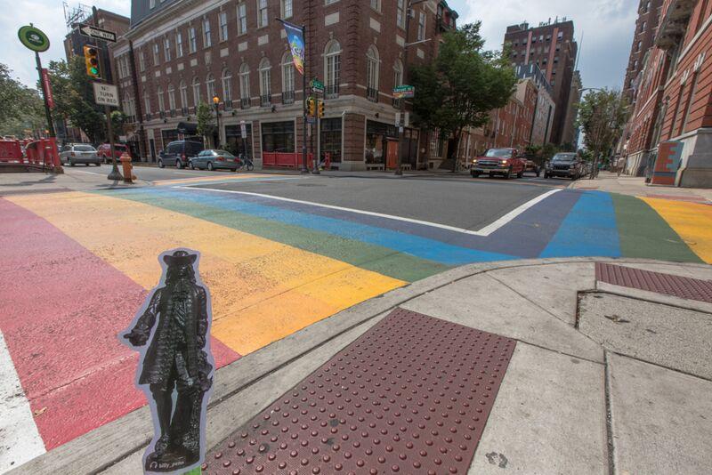 Flat Billy on the Rainbow Crosswalk