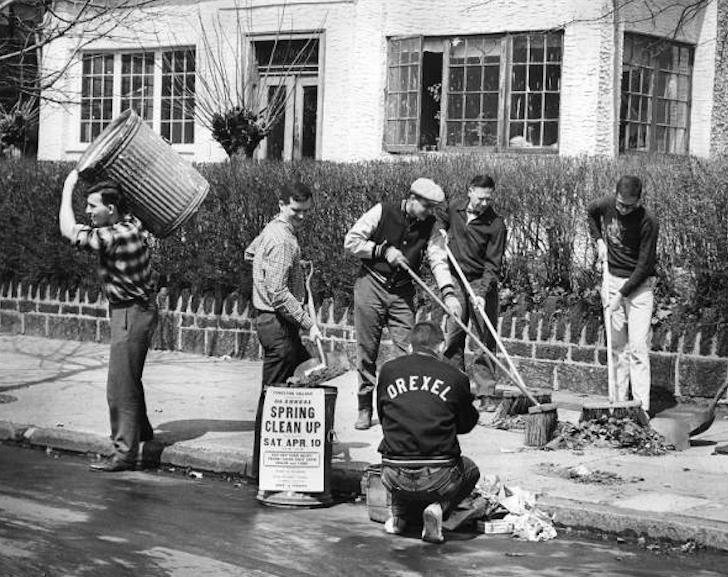 In 1965, Drexel Institute of Technology students participate in spring clean-up.