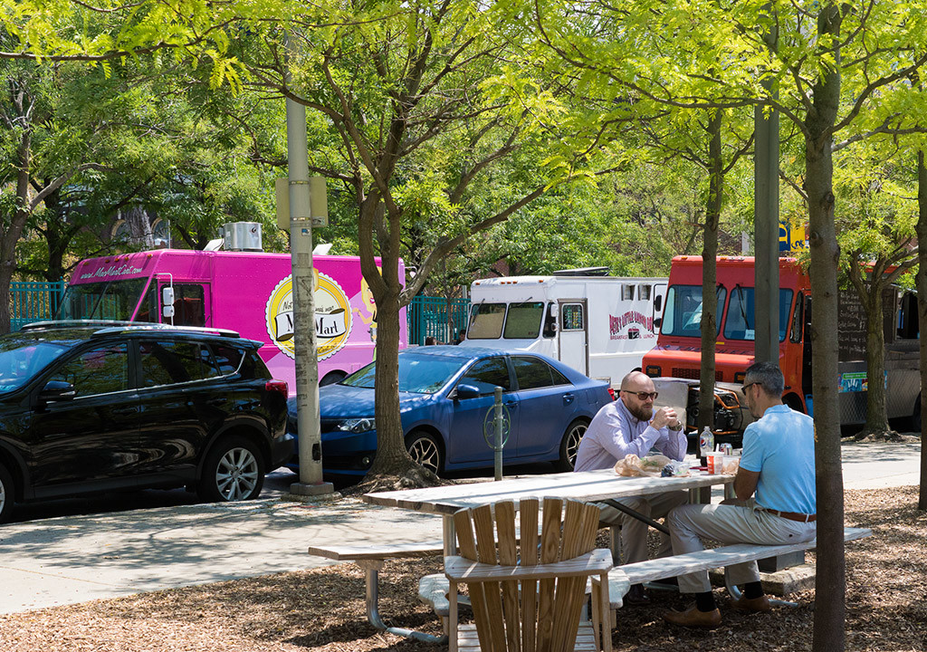 Mac Mart Truck and other colorfully-decorated trucks often vend from parking spaces near the Drexel campus