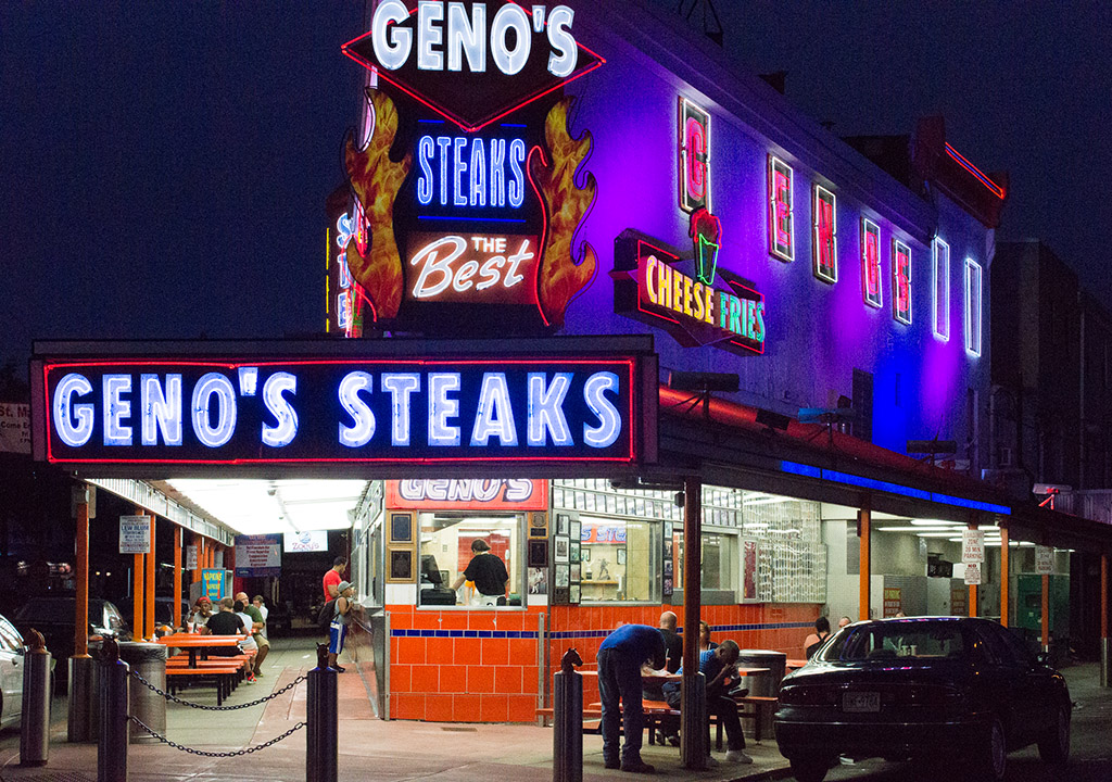 Geno's is directly across from Pat's King of Steaks in South Philly