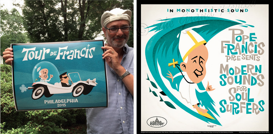 Left: Todd Kimmell stands with one of the pieces. Right: The Soul Surfers piece.