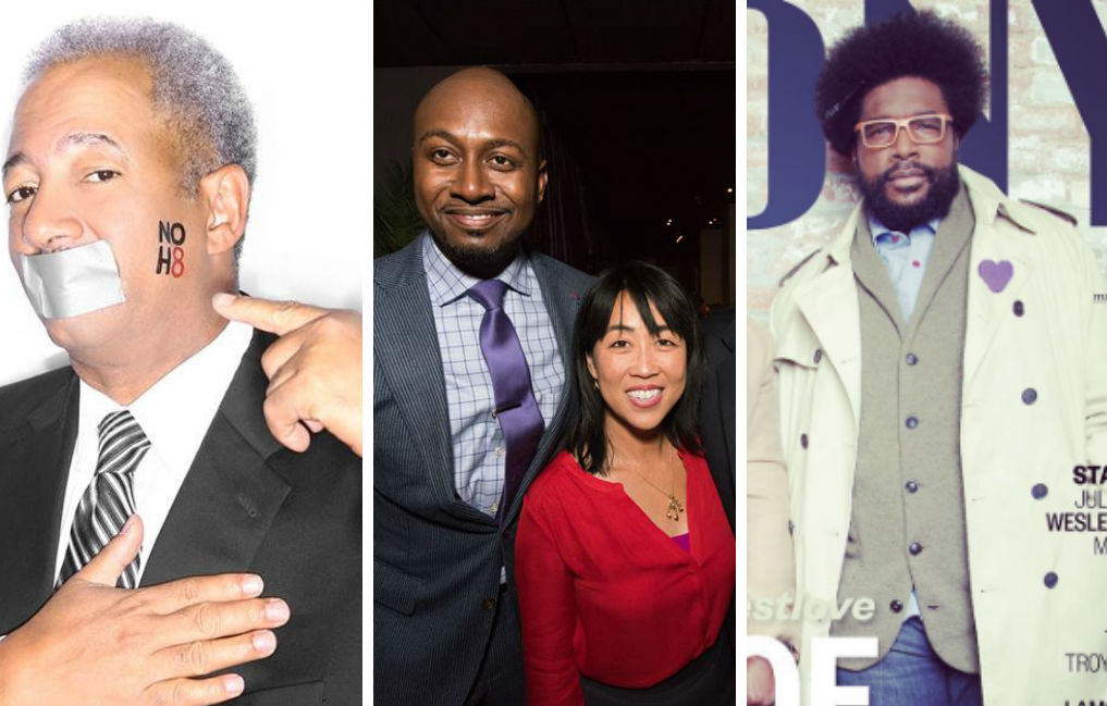 Chaka Fattah, left; Helen Gym, center; Questlove, right.