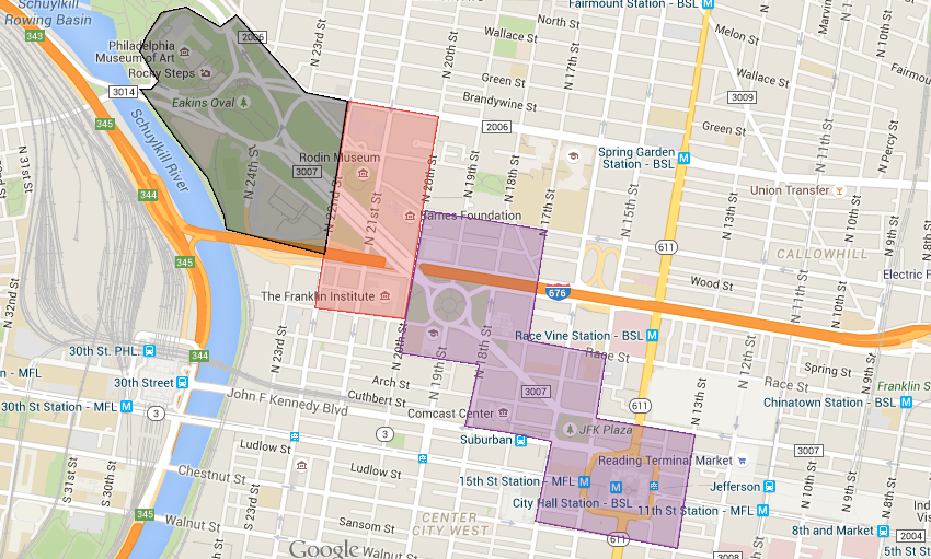 Gray = staging; red = ticketed; purple = open, no ticket required.
