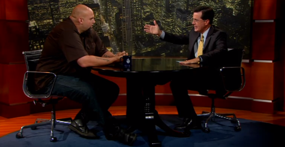 John Fetterman on the Colbert Report in 2010.