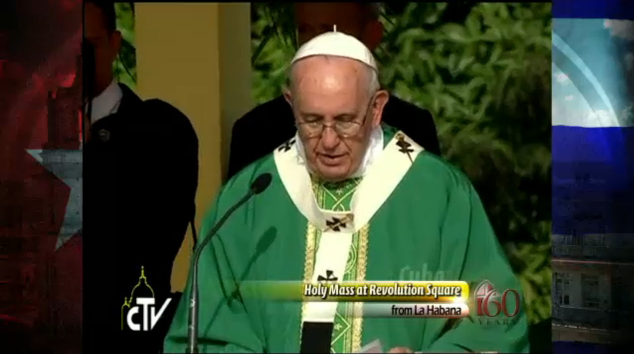 Pope Francis delivering mass in Cuba.