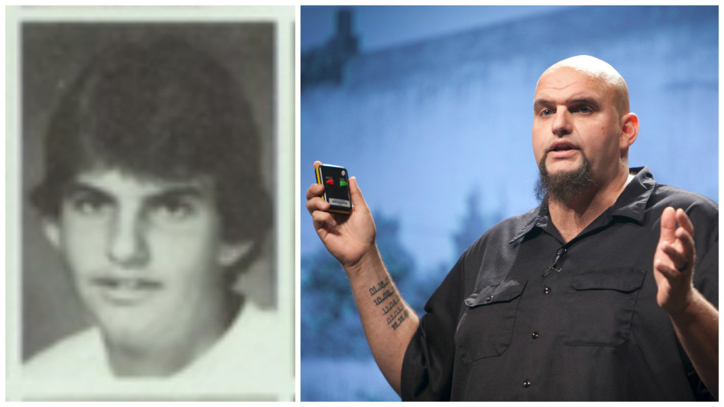 Left: John Fetterman as a junior in high school. Right: Fetterman speaks at an event as mayor of Braddock.