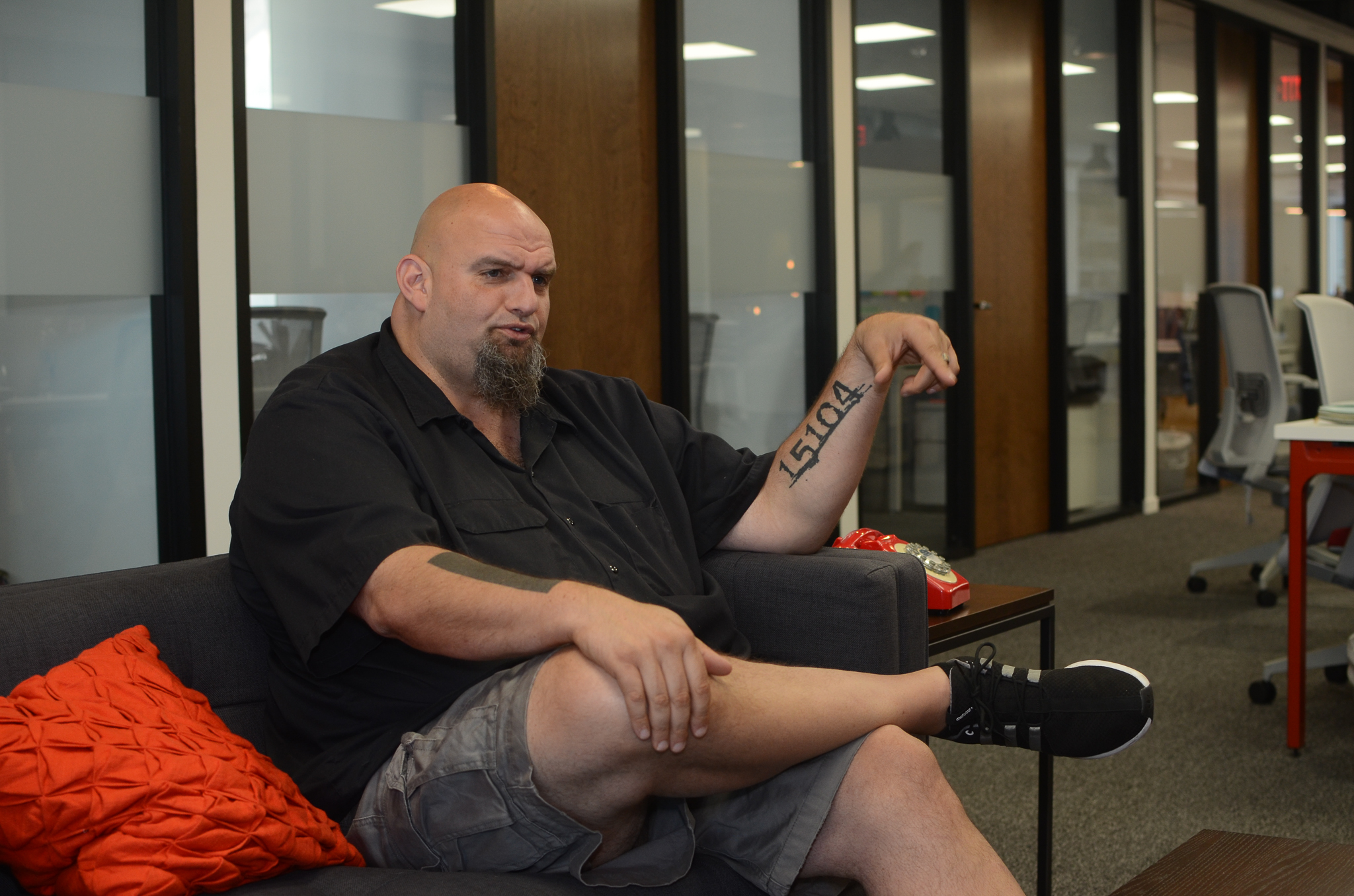Braddock Mayor and U.S. Senate candidate John Fetterman speaks with Billy Penn.