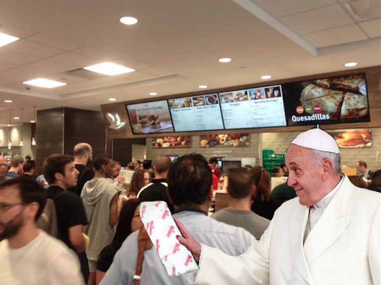 Pope Francis with his hoagie in the BRAND NEW WAWA.