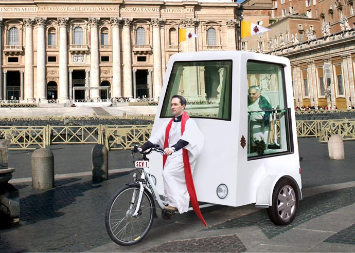 Rendering of what a pedal-powered popemobile could look like