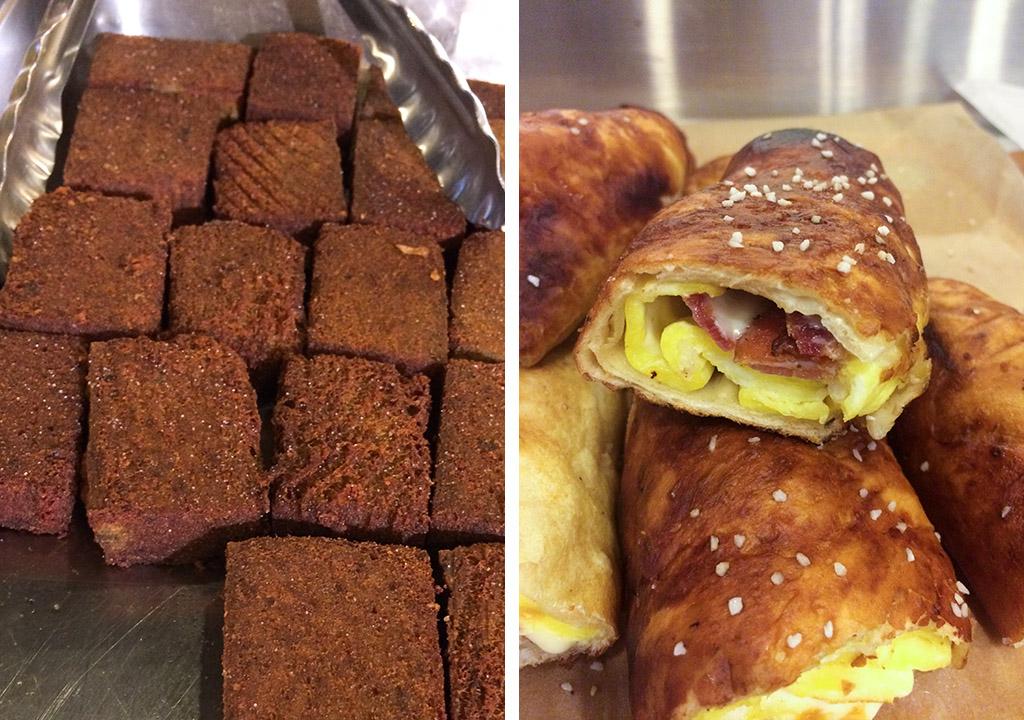 Scrapple and breakfast pretzels at Reading Terminal Market