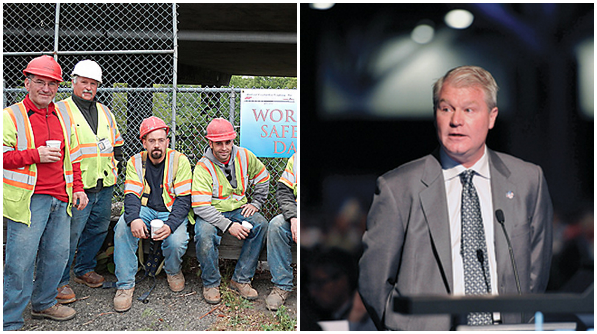 Left: Construction workers in Philadelphia. Right: IBEW Local 98 Business Manager John Dougherty.