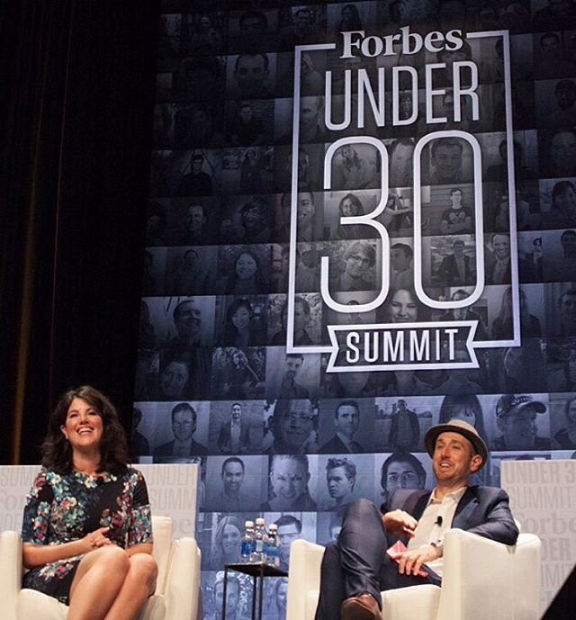 Monica Lewinsky, left, and Forbes Magazine Editor Randall Lane, right.