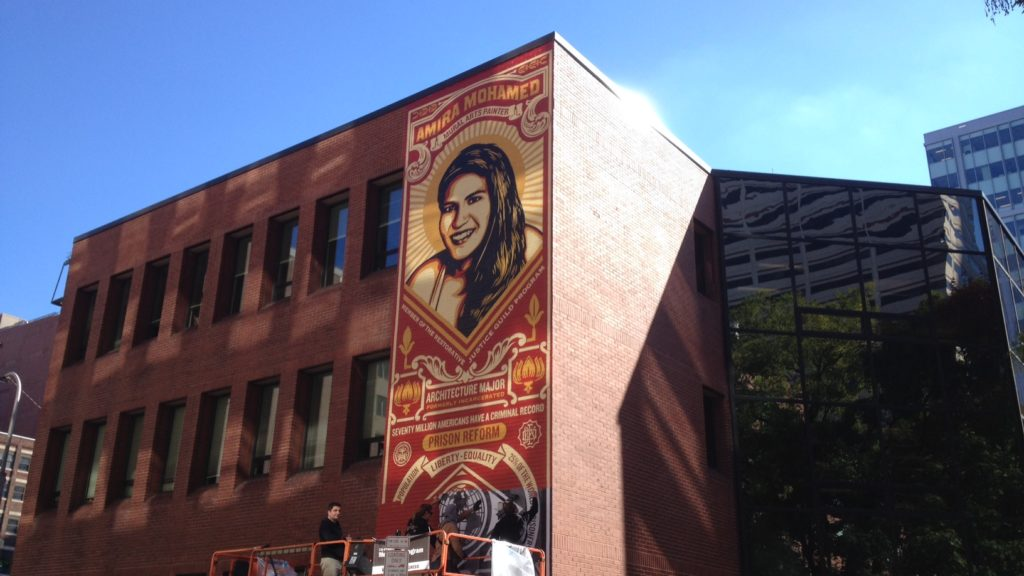 Shepard Fairey's Amira Mohamed Stamp of Incarceration mural, located at 15th and Race streets.