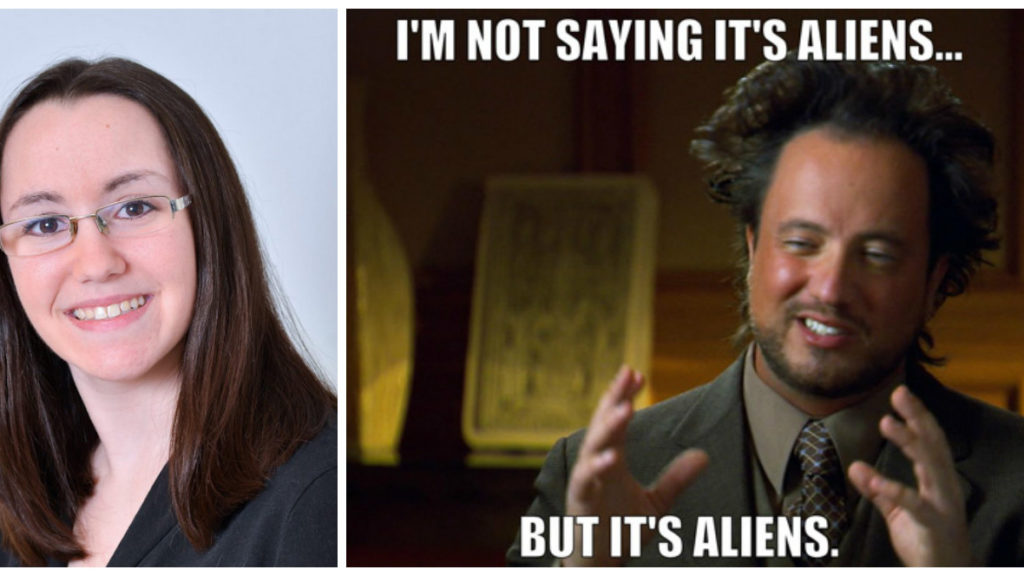 "Left: Kimberly Cartier. Right: An Internet meme that circulated after one of her colleagues mentioned the word ""alien."""
